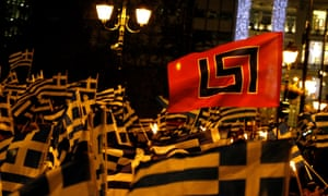 Extreme far-right Golden Dawn party's supporters protest in Greece.