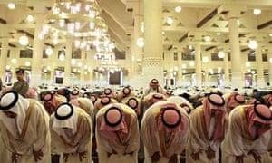 Saudi officials perform Eid al-Fitr prayers at mosque in Riyadh