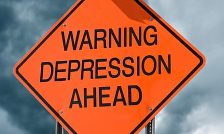 An orange highway safety sign with the words Warning Depression Ahead on it