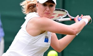 Elena Baltacha playing in a mixed doubles match at Wimbledon in 2010.