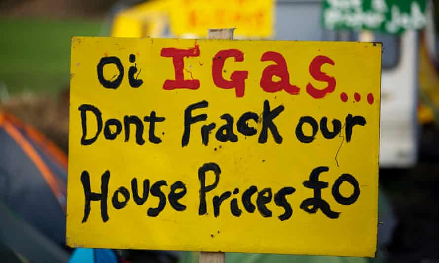 Signs at the anti-fracking protest camp set up at Barton Moss in Salford where energy company iGas has built a vertical test well to assess the suitability for shale gas tracking