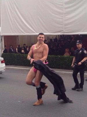 Man in pink mankini at Met Ball 2014