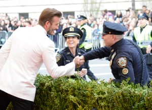 David Beckham talks to the NYPD outside the Met Ball