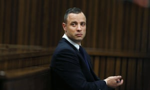 Oscar Pistorius listens to a defence witness at his murder trial at the high court in Pretoria on Tuesday.