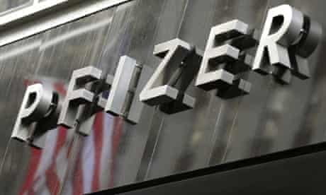 A sign for Pharmaceutical company Pfizer Incorporated headquarters in New York.