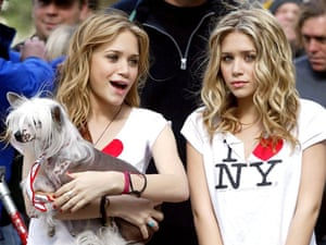 Mary Kate and Ashley Olsen wearing 'I (Heart) New York' T-shirts. The slogan was created by Milton Glaser in the 1970s.