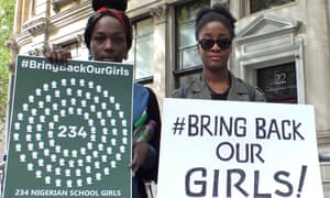Demonstrators opposite the Nigerian high commission in London calling for the government to step up efforts to rescue the schoolgirls.