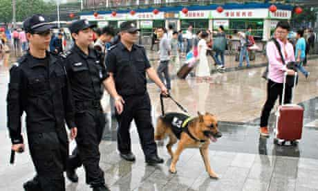 Chinese police at Guangzhou railway station