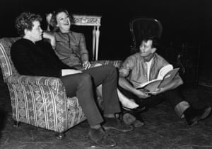 Joe Orton, right, with Dudley Sutton and Madge Ryan