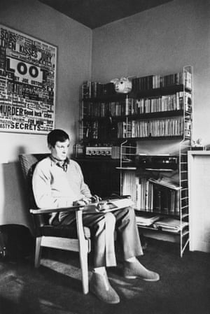 Joe Orton working at his flat in Islington