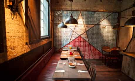 Industrial lights and long tables at the Big Easy in Covent Garden