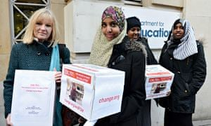 Fahma Mohamed and fellow anti-FGM campaigners deliver a petition to parliament