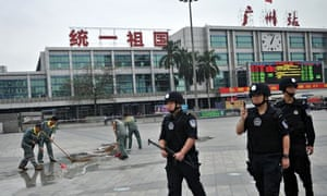 Chinese police at Guangzhou train station