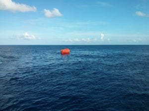 The Ocean Protector tows one of the lifeboats in a training exercise. The Customs vessel has been heavily involved in the use of the vessels since November 2013.