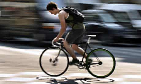 Cyclist on city street