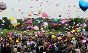 Ann Maguire public memorial with balloons