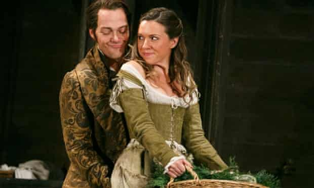 Christopher Maltman as Count Almaviva and Mary Bevan as Barbarina in Le Nozze di Figaro at The Royal Opera House, 2013.