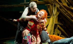 Jean Rigby (Forester's Wife) and Lucy Crowe (Vixen Sharp Ears) in The Cunning Little Vixen by Janacek at Glyndebourne, May 2012.