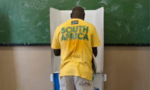 A man votes in Soweto. There was an 'extremely high turnout' for the fifth polls since apartheid