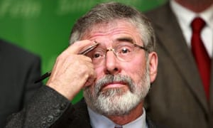Gerry Adams on euro campaign trial, Belfast