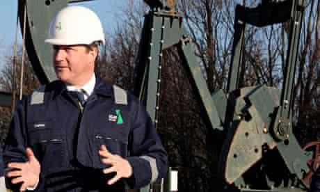 David Cameron visits Total Oil shale drilling site