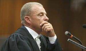Prosecutor Gerrie Nel during Oscar Pistorius' murder trial at Pretoria high court.
