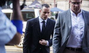Oscar Pistorius arrives at court this morning.