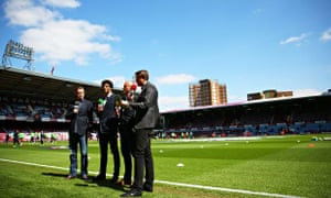 BT Sport pundits broadcast from pitchside at a Premier League match
