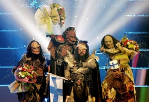 Finland's Lordi celebrate after winning the 2006 contest in Greece.