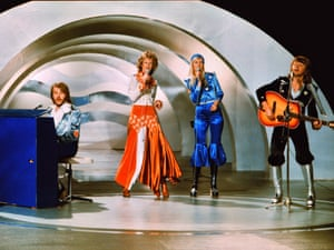 Abba perform Waterloo in Brighton, 1974.