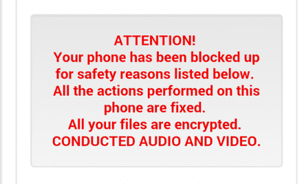 Android.Trojan. Koler.A claims to have locked up victims' smartphones.