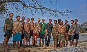'Simple blokey joy': Bear Grylls (seventh from right) instructs 13 castaways on survival skills in C