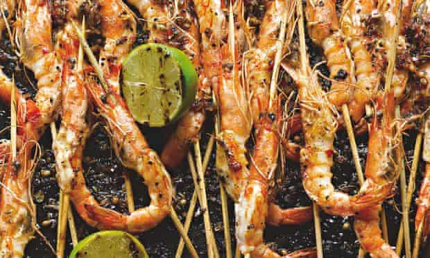 Yotam Ottolenghi's barbecued curried prawns with grilled limes