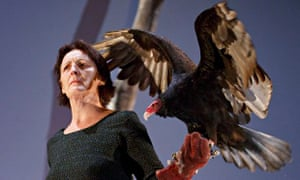 Fiona Shaw with vulture in The Testament of Mary