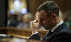 Oscar Pistorius at his murder trial on Thursday.