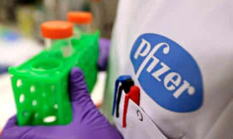 An employee working at the Pfizer research laboratory in Cambridge