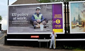 Bill Drummond and the Ukip poster before he set to work on it
