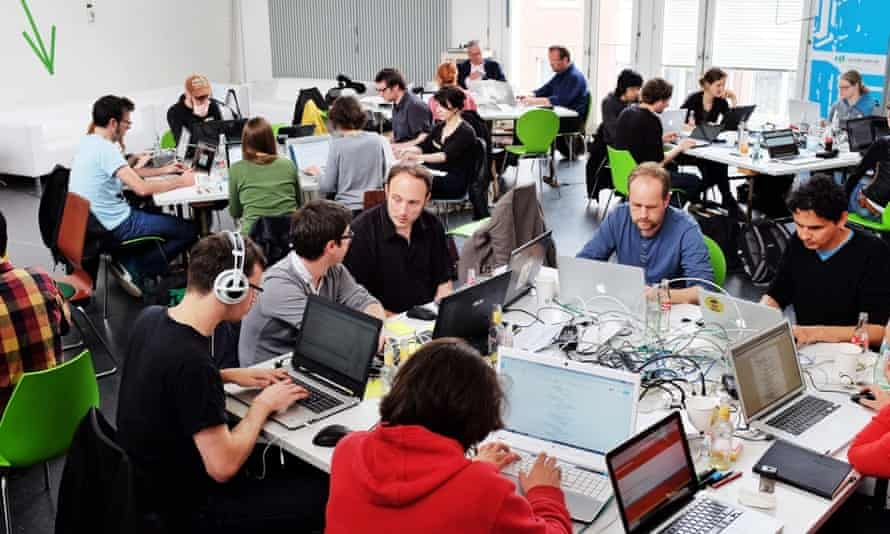 Developers at the first European Newsgames Hackathon in Cologne, Germany