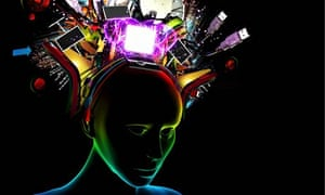 Woman with technology headdress