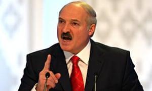 Belarussian president Alexander Lukashenko speaks during a press conference in Minsk