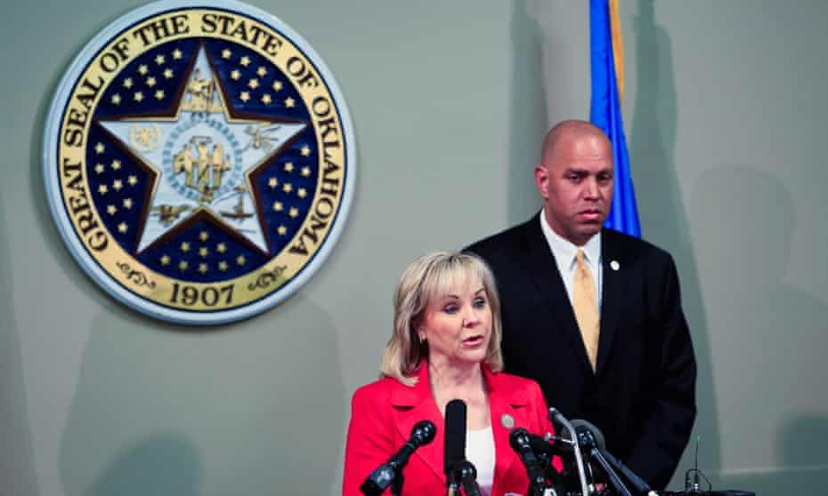 Oklahoma governor Mary Fallin issues a statement to the media on the execution of Clayton Lockett.