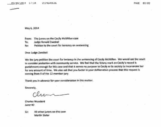Cecily McMillan letter