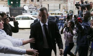 Oscar Pistorius arrives at the high court in Pretoria on Friday.