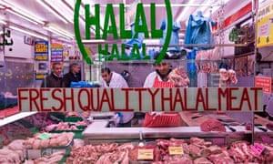 A butcher in Shepherd's Bush market selling halal meat