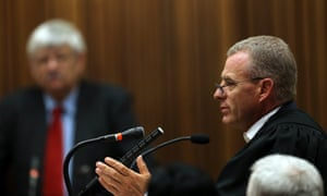 State prosecutor Gerrie Nel addresses the court as Tom Wolmarans looks on (background) during his testimony on Friday.