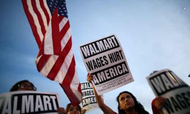 A protest outside a Walmart store in Los Angeles in November 2013.
