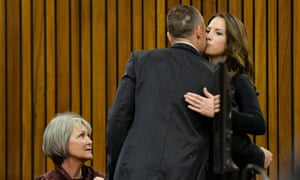 Oscar Pistorius and his sister Aimee Pistorius in court on Friday.