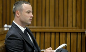 Oscar Pistorius takes notes in court on Friday.