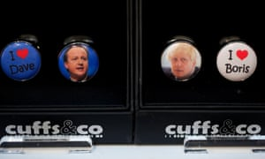 David Cameron and Boris Johnson cufflinks on sale at the Conservative party conference.