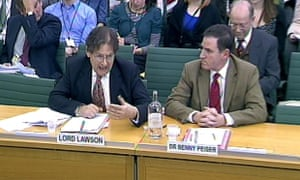 Lord Lawson (left) and  Dr Benny Peiser, Director (right), Global Warming Policy Foundation appear before the Science and Technology Committee in Portcullis House, London. Photograph: PA